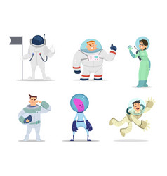 male and female astronauts cartoon characters in vector image