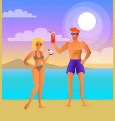 man and woman on beach at night with cocktails vector image