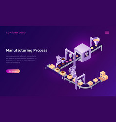 Manufacturing process cookies isometric concept vector