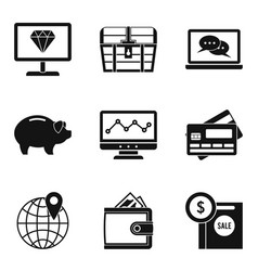 Marketplace icons set simple style vector