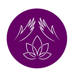 Massage logo with elegant woman hands and lotus vector