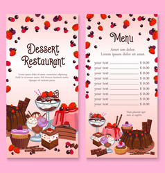 Menu for pastry dessert cakes and cupcakes vector