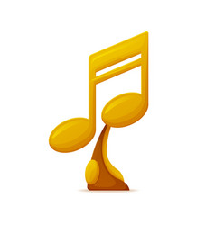 Music award gold trophy in form of note icon vector