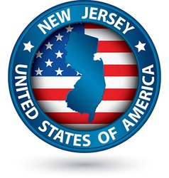 New jersey state blue label with state map vector