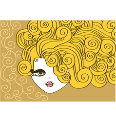 Nice girl with curly hair vector