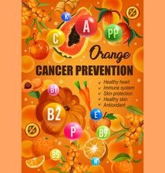 Orange diet cancer prevention food nutrition vector