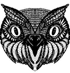 Owl head Doodle hand drawn on white background vector