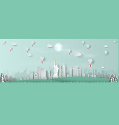 paper art balloon gift of panorama top world vector image
