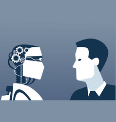 people and robots modern human and artificial vector image