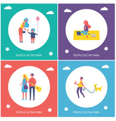 people in park have fun and rest cartoon banner vector image