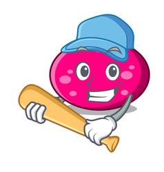 Playing baseball ellipse character cartoon style vector