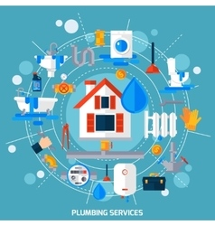 Plumbing Service Concept Circle Composition Poster vector