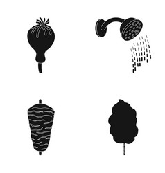 Poppy head shower and other web icon in black vector