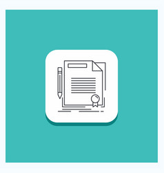 Round button for agreement contract deal document vector