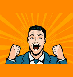 screaming businessman retro comic pop art vector image