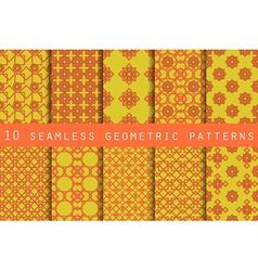 Set of 10 geometric seamless pattern vector image