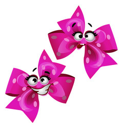 Set of funny laughing pink ribbon bow isolated on vector