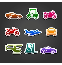 Set stickers transport color icons vector
