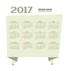 simple 2017 happy new year calendar design vector image