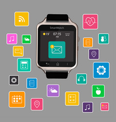 smart watch device display with app icons vector image