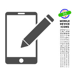 smartphone edit pencil icon with set vector image