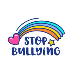 Stop bullying banner with rainbow heart and star vector