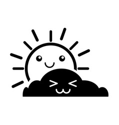 Summer sun with cloud scene kawaii character vector