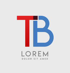tb logo letters with blue and red gradation vector image