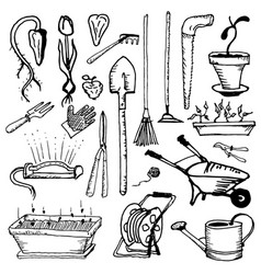Tools for handling caring and growing a garden vector