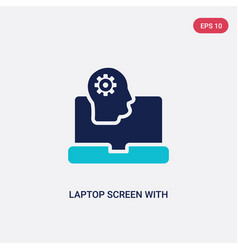 Two color laptop screen with human head graphic vector