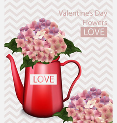 valentine day flowers bouquet retro vector image