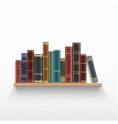 Vintage books on a wooden bookshelf vector