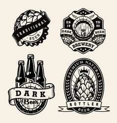 vintage brewing monochrome badges set vector image