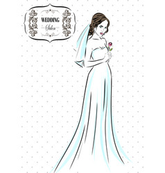 wedding time bride in dress sketch eps 10 vector image