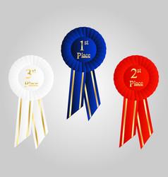 winner rosette set with ribbons vector image