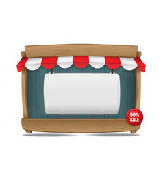 Wooden market stall with awning and blank board vector