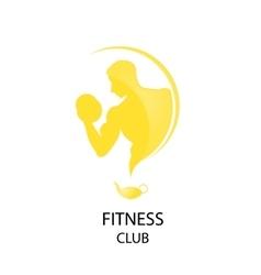 yellow fitness club icon vector image
