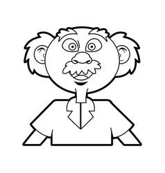 cartoon old professor man scientific with mustache vector image