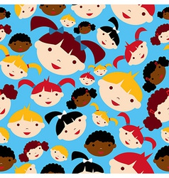 Diversity children faces pattern vector image