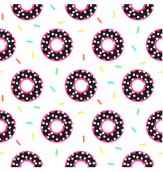 donut black and pink sweet seamless pattern vector image vector image