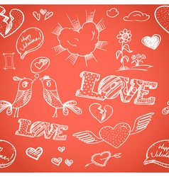 Happy Valentines Day elements seamless background vector image vector image
