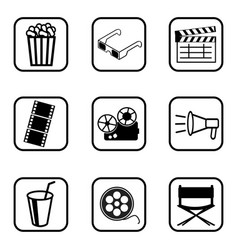 movie icons set on white background vector image vector image