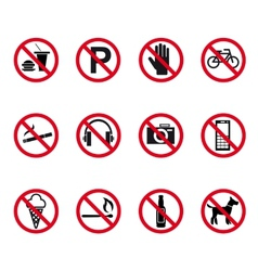 Prohibition and warning signs vector image