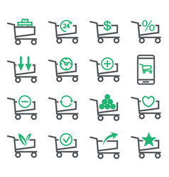 set shopping cart isolated on white background vector image vector image