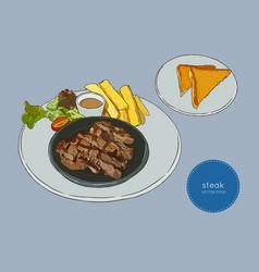 sliced beef steak hand draw sketch food vector image vector image