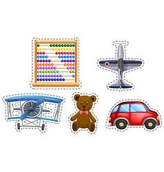 Sticker set of many toys vector image