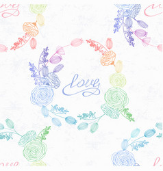 hand drawn floral seamless pattern in hologram vector image