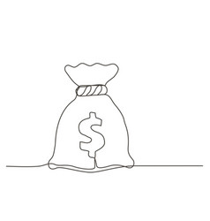 money bag one line drawing vector image