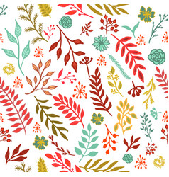 seamless vintage autumn pattern vector image vector image