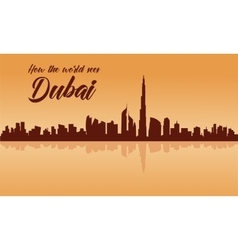 Dubai city skyline silhouette with brown vector image